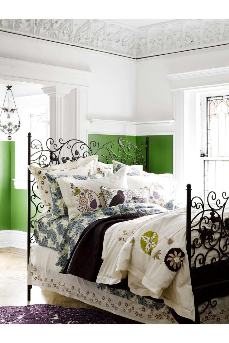 : Decor, Bed Frames, Beds, Dream, Green Wall, Wall Color, Bedroom Ideas