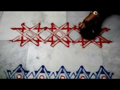 border rangoli //magic finger rangoli by nidhi jain - YouTube