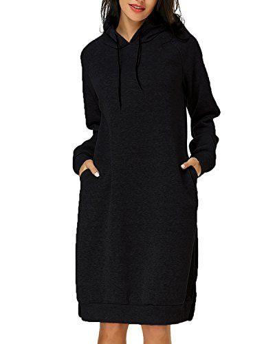 da229e041 Kidsform Femme Robe Sweat à Capuche Manche Longue Outerwear Casual ...
