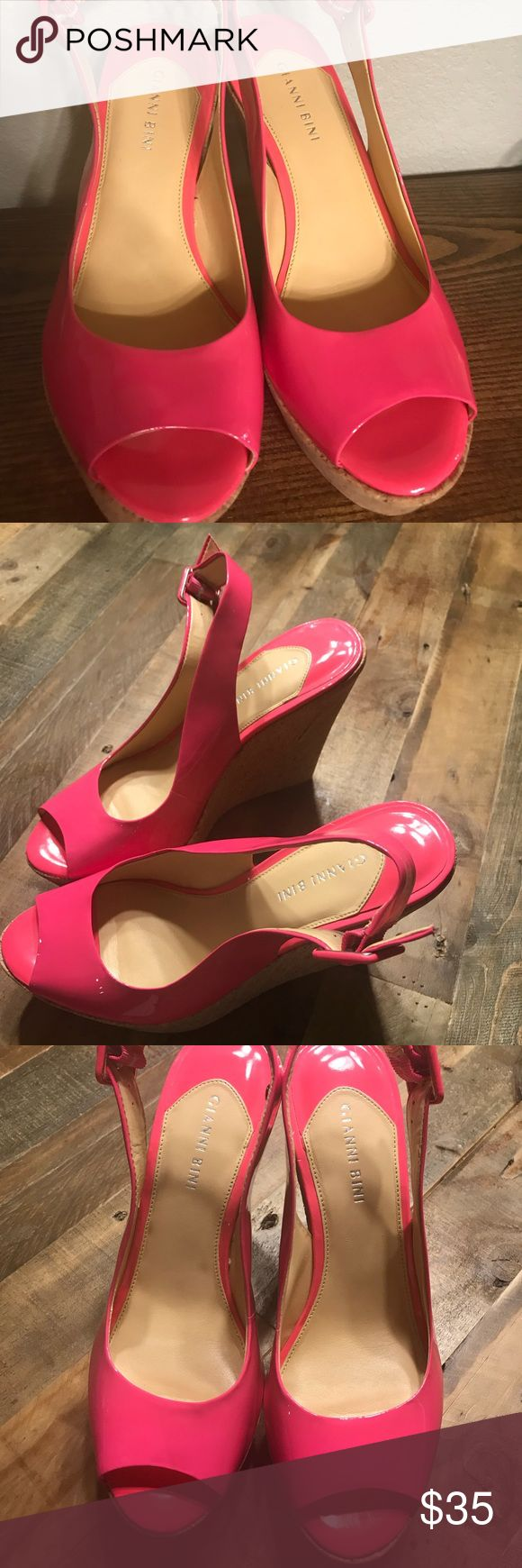 Hot pink Wedges!!! These super fun wedges are great for spring and summer.  Add to a cute solid black or white dress and make a statement! Patent leather will do that! Gianni Bini Shoes Wedges