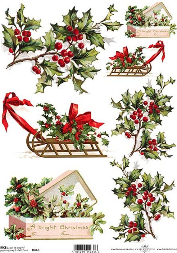 CHRISTMAS RICE Paper for Decoupage R448