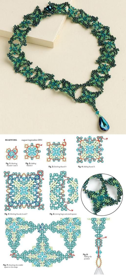 Beaded Renaissance Necklace PATTERN.  (I have in Beadwork mag.  Reminder to do again.)