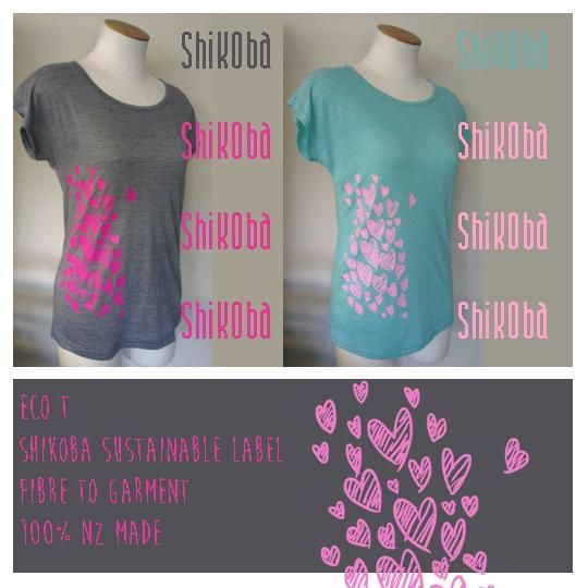Love our latest Shikoba release - New Eco T with Heart swarm design, made from Sustainable NZ made fabric <3