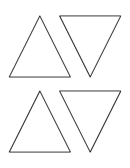 4 inch triangle pattern. Use the printable outline for crafts, creating stencils, scrapbooking, and more. Free PDF template to download and print at http://patternuniverse.com/download/4-inch-triangle-pattern/