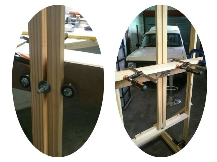 Diy h-frame easel,  bearings to help for a smoother canvas support height adjustment.