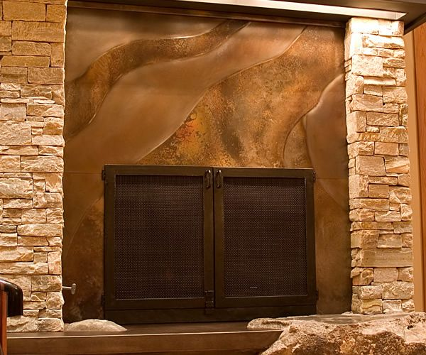 Volcanic Stainless Steel Fireplace Surround With Organic Lines Embossed Stuff For Your Home