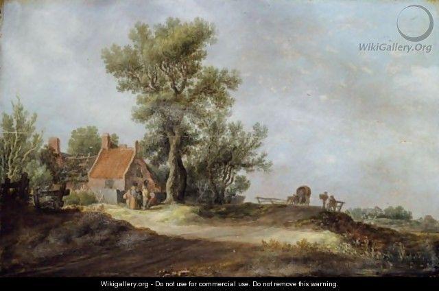 Jan van Goyen - Landscape With Peasants Before A Dilapidated Cottage - Jan van Goyen