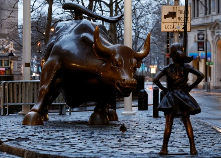 A statue of a girl facing the Wall St. Bull is seen, as part of a campaign by U.S. fund manager State Street to push companies to put women on their boards, in the financial district in New York, U.S., March 7, 2017. REUTERS/Brendan McDermid via @AOL_Lifestyle Read more: https://www.aol.com/article/news/2017/03/08/on-international-womens-day-eve-statue-of-girl-stares-down-wal/21876341/?a_dgi=aolshare_pinterest#fullscreen