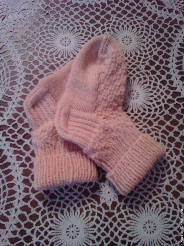 Купить Вязаные носочки для малышей - бежевый, однотонный, детские носочки, вязаные носочки, для детей