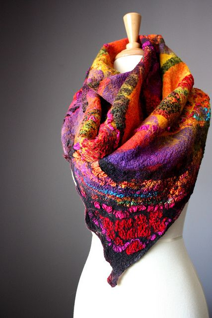 Nuno felted shawl / wrap / scarf wool silk by VitalTemptation , Etsy, via Flickr