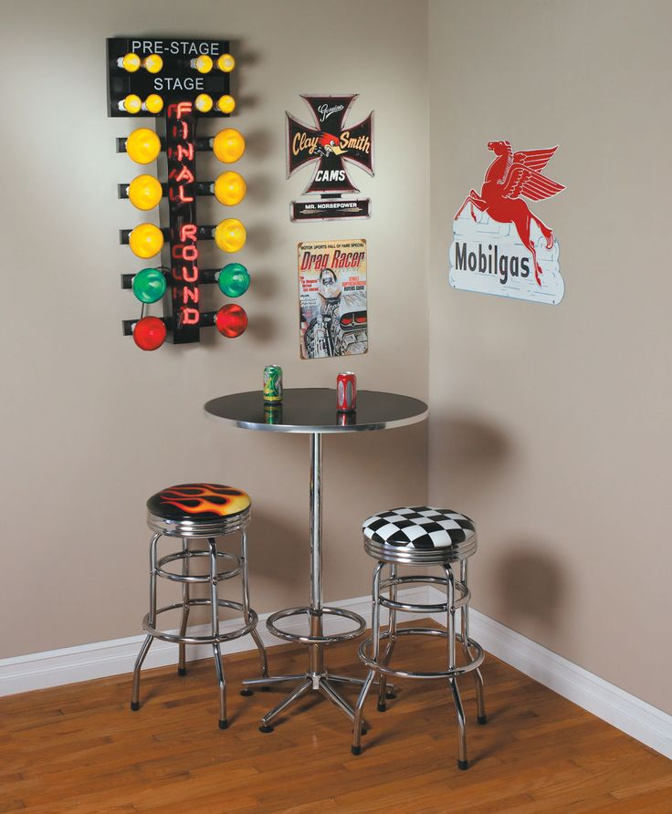 For authentic drag racing action in any room, just plug in this staging tree.  It has FINAL ROUND written in neon, and you can have incandescent staging lights flash in sequence or stay on all at once.