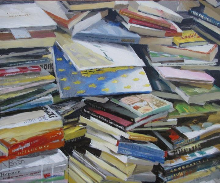 Libri/Books Olio su tela/oil on canvas 50x60