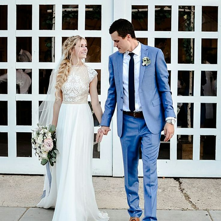 Modest wedding dress with cap sleeves from alta moda. -- (modest bridal gown) . Photo by Paige Burn Photography