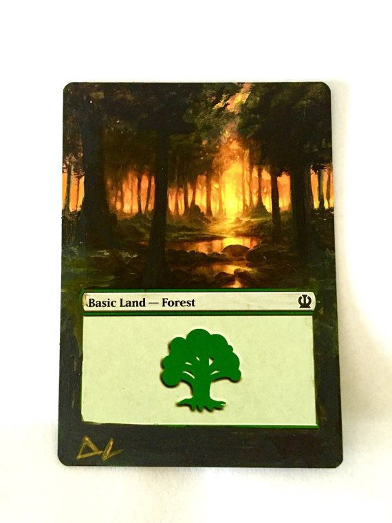 MTG altered art basic forest Magic the gathering painted mtg extended art