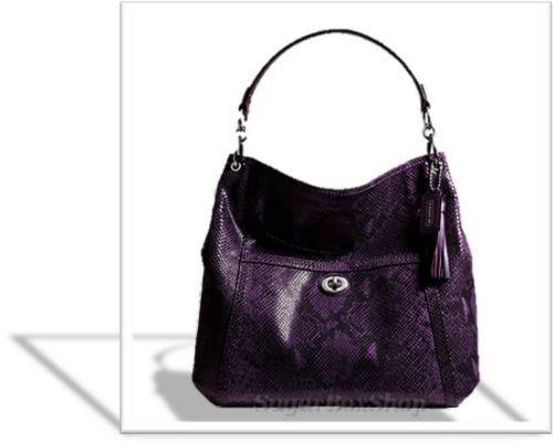 ... 598 Gorgeous Coach Park Python Leather Large Hobo Bag Purse Purple SV  eBay ... 6f03b431e4