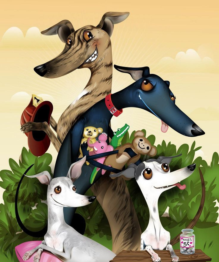 Greyhounds whimsical pet portraits by chris