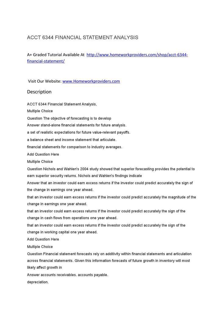 ACCT 6344 FINANCIAL STATEMENT ANALYSIS
