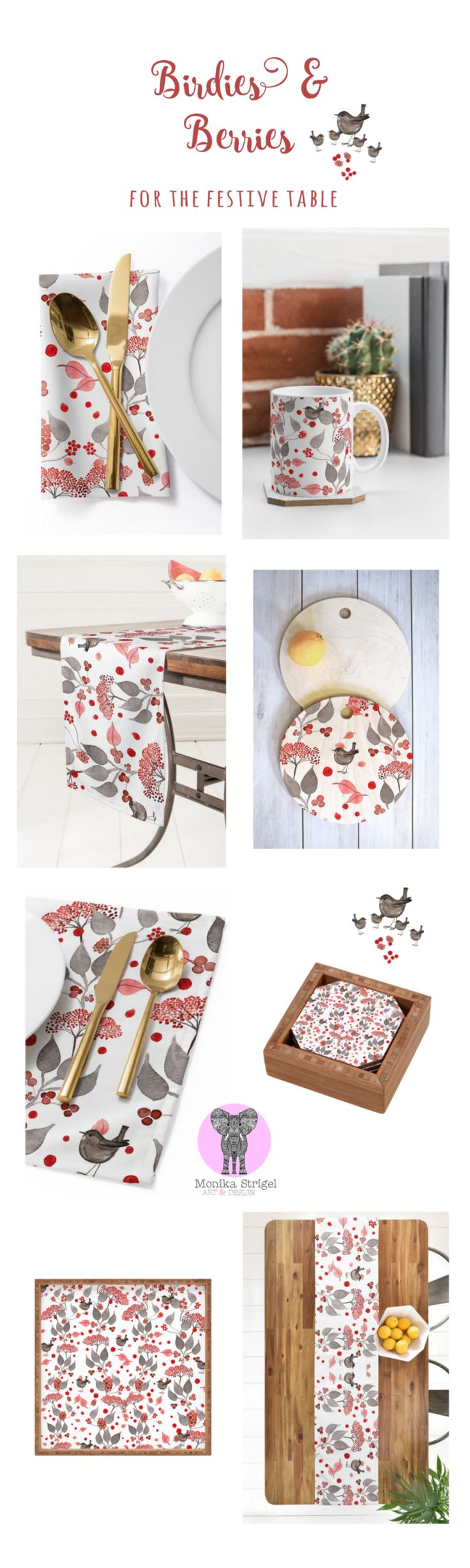 Napkins, tablerunner, coasters and more! Everything you need for your wonderful festive table with BIRDIES & BERRIES created by Monika Strigel and only on @denydesigns ! Starting at $15  #decoration #table #tablerunner #napkin #mug #tablecloth, placemat, cuttinboard, bird, birds, cute, red, berries, grey, watercolor, watercolorart, artistic, cute, fall, winter, nordic, scandi, scandidesign, design, monikastrigel