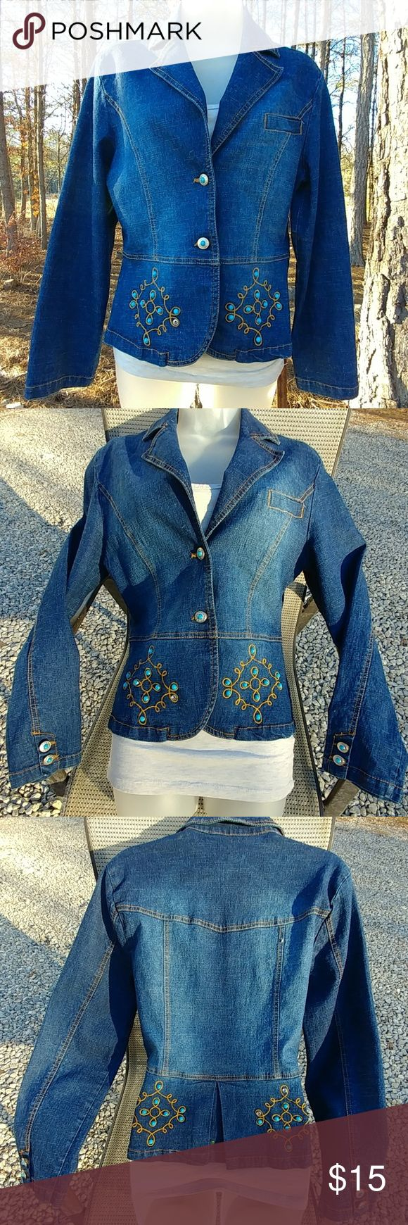 'Vezucci' Western Style Peplum Jean Jacket Dark wash 'Vezucci' peplum, western style lightweight jacket/blazer. Brown embroidery design with faux turquoise stuffing and buttons. 2 button front closure with faux breast pocket. 2 button wrist cuffs. Missing 1 turquoise stud, bottom right front, see pic 1 or 2. 1 small yellow paint spot on tail inside, you can see it in pic 3 if you zoom in. Those are the only 2 small things wrong, otherwise looks New! Price reflects the 2 min or issues. True…