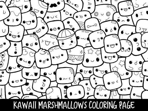 Marshmallows Doodle Coloring Page Printable Cute Kawaii Coloring
