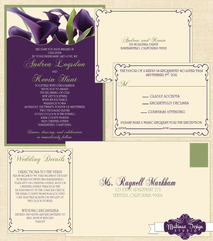"""Calla Lilly invitation featuring shades of """"eggplant"""" purple and """"fairway"""" green with coordinating response postcard and envelope.  Click to see the rest of the accessories!  www.matinaedesignstudio.com"""