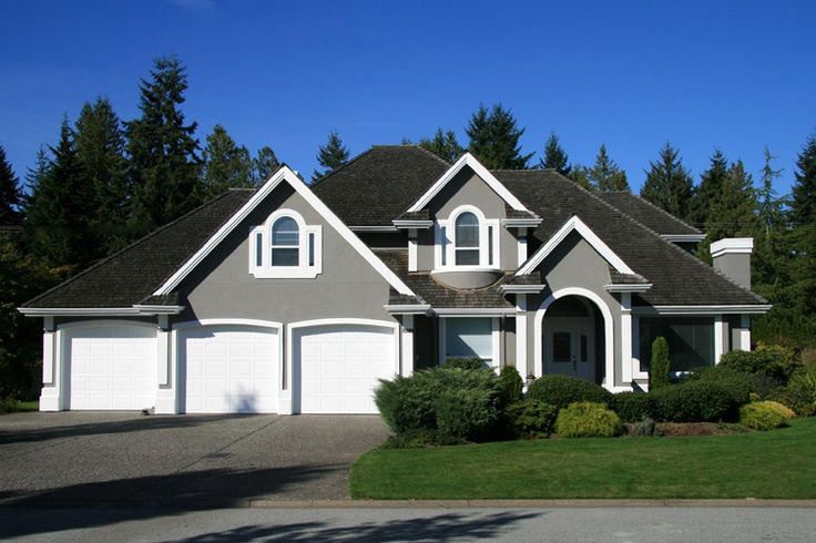 Gorgeous grey exterior grey with white trim and dark roof for Stucco and trim color combinations
