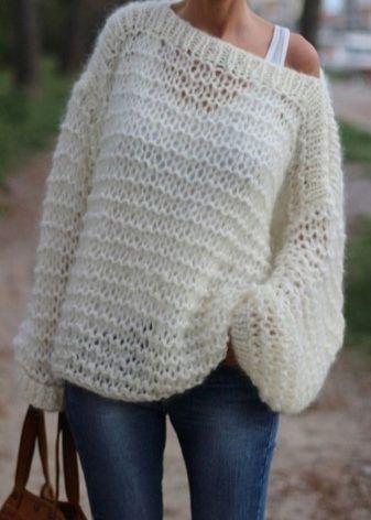 Вязаный женский свитер (121 фото) 2017: крупной вязки, модели, грубой вязки, реглан, толстой вязки, красивые, модные