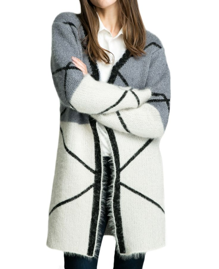 Two-tone Geo-patterned V-neck Md-long Cardigan   BlackFive