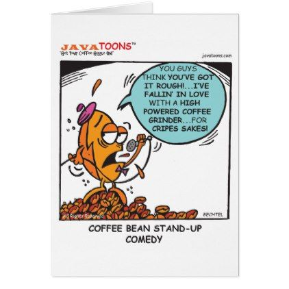 Stand-up cartoon coffee bean greeting card - funny comic style comics geek geeks lol fun cyo