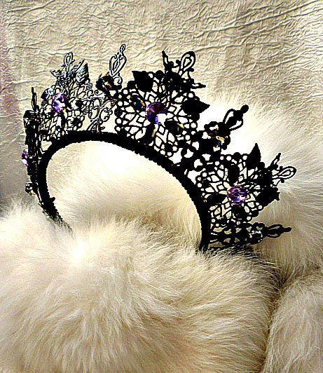 Black Metal Crown Light Purple Rhinestones Swarovski Tiara Birthday costume Headdress hair crown girl celebrity unique Fest cosplay crown by JewelryAjoureFlowers on Etsy
