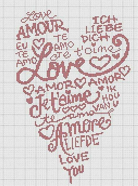 Pour continuer sur le thème de l'Amour, la SAINT VALENTIN approchant, une grille de coeur, gratuite. Bonnes petites croix