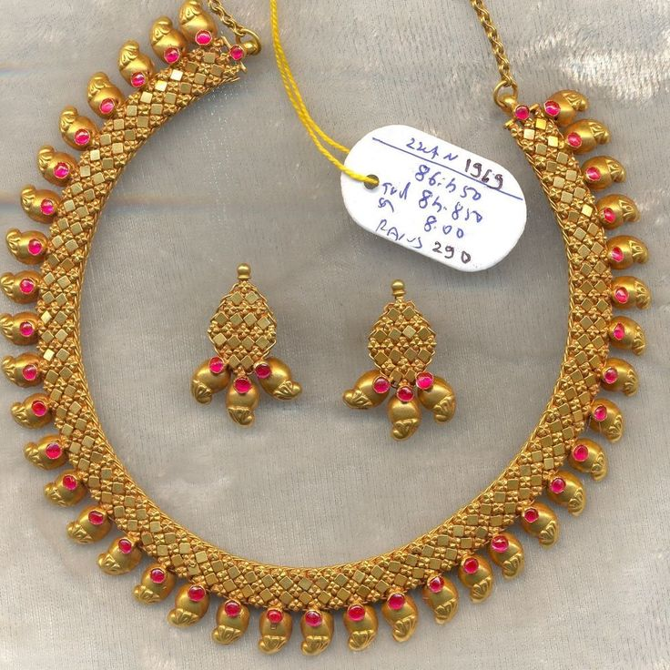 Vintage Solid 22k Gold Ruby Gemstone Necklace Amp Earring