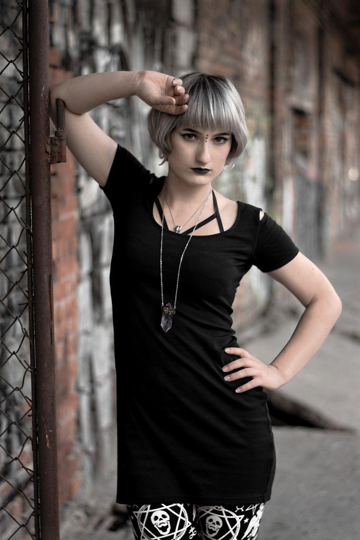 Leggins from Killstar Photoshoot from AltFair Nu goth, modern witch, allternative model with silver hair