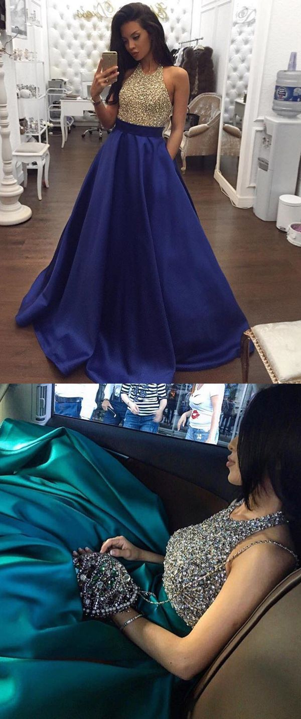 modest royal blue satin prom dresses with pockets, simple beading bodice backless party dresses, elegant halter evening gowns with beading #promdress #partydress