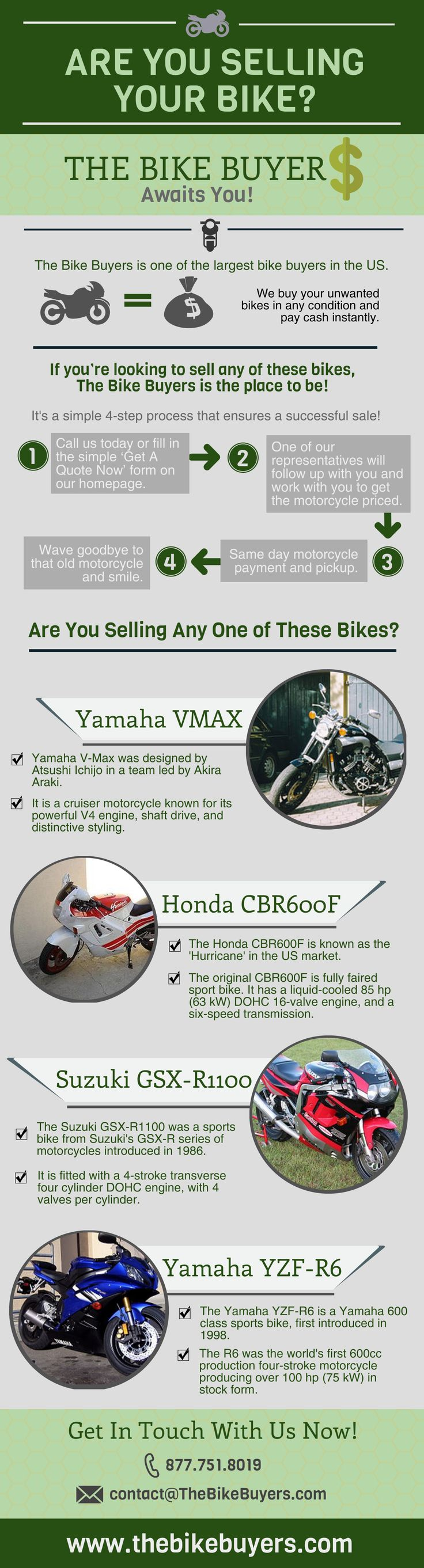 Nationwide cash for motorcycles, Sell my motorcycle that is new, used, damaged, wrecked, totaled, smashed. We buy BMW, Harley Davidson, Honda, ATVs and all motorcycles for cash money today, Cash motorcycle, snowmobiles,boats, sell your bike now, sell my bike now.