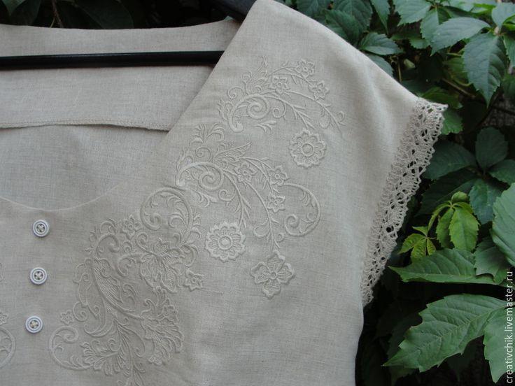 Блуза из натурального не отбеленного льна. Можно исполнить большого размера для барышень с роскошными формами. Blouse natural not bleached linen. You can order a large size for the ladies with luxurious forms.