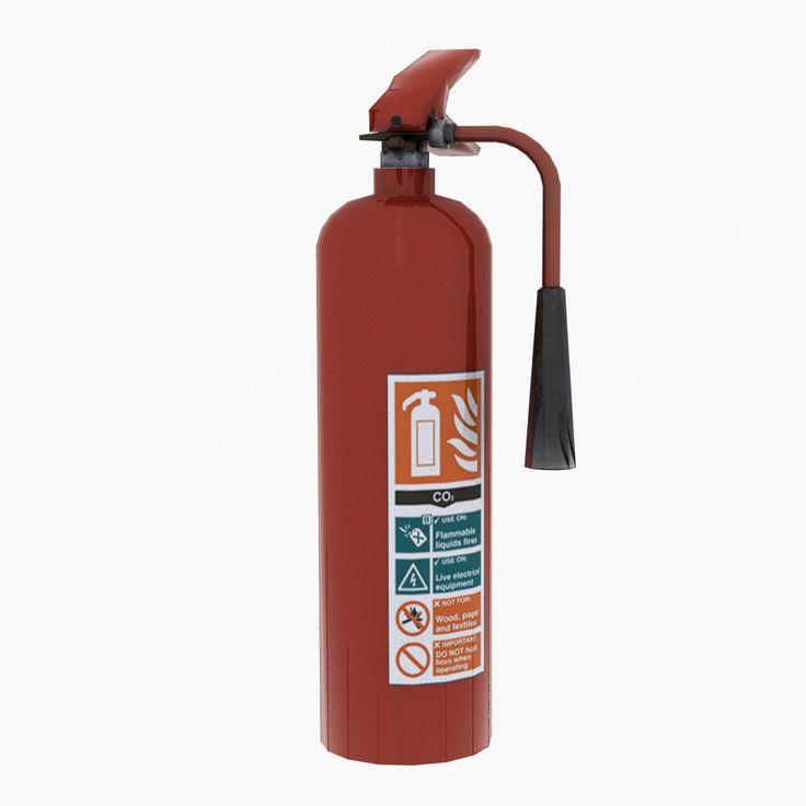 Free Obj Mode Co2 Extinguisher - 3D Model