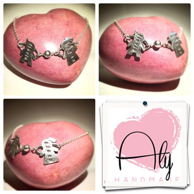 "Bracciale ""bimbo e bimba"". #bracciale #bracelet #argento #silver #handmade #silverclay #child"