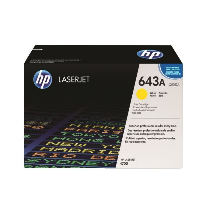 HP 643A toner LaserJet jaune authentique (Q5952A) pour HP Color LaserJet 4700
