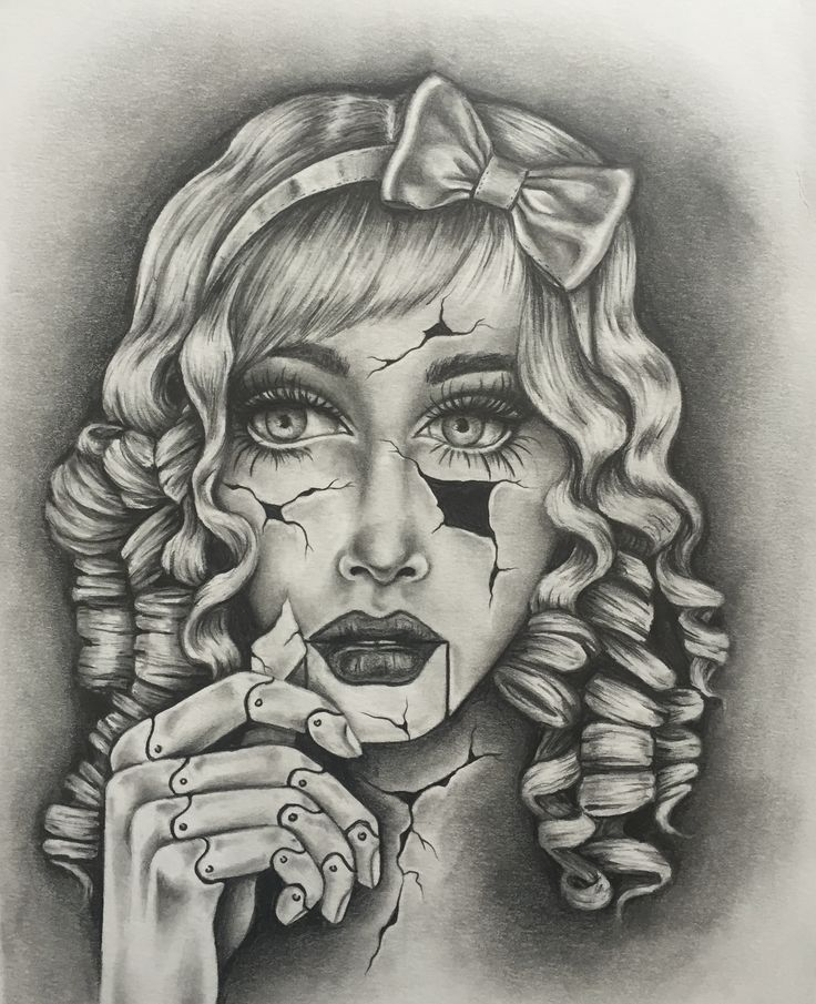 """Original drawing by tattoo artist Whitney Thompson. Doll face drawing titled """"I Know the Pieces Fit"""""""