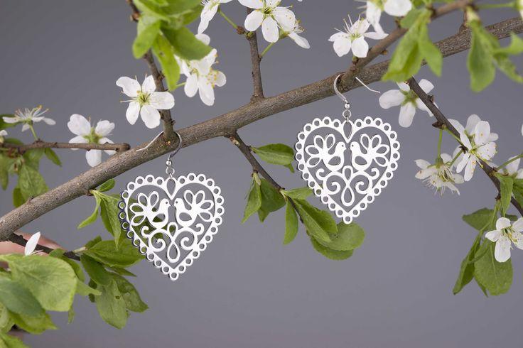 Náušnice Srdce holubice - ružové zlato 4cm | Katarina ZIAK