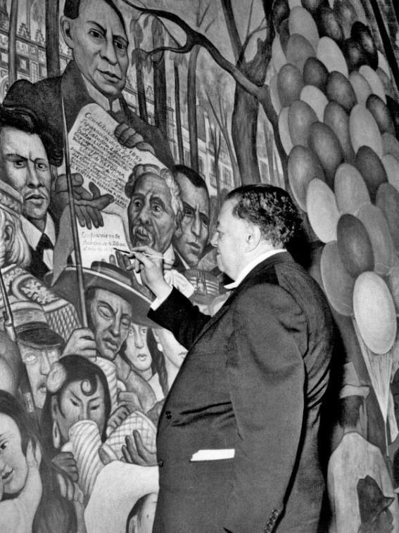 Diego rivera pintando el mural sue o de una tarde for Un mural de diego rivera