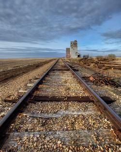 new railroad tracks going by dankin elevators in saskatchewan