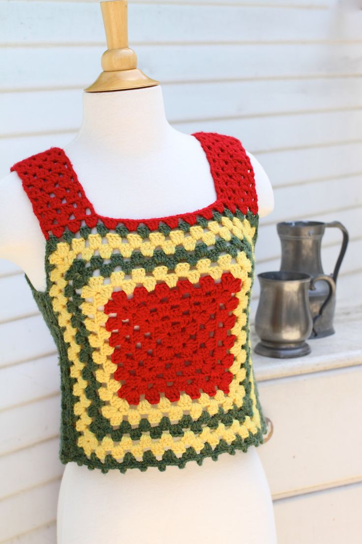Dreadlock Rasta Tank, Granny Square Top, Red Yellow Green, Boho Crochet Granny Square Vest, Hippie Top, Crochet Crop Top, Small by iTinkStudios on Etsy https://www.etsy.com/listing/278914478/dreadlock-rasta-tank-granny-square-top