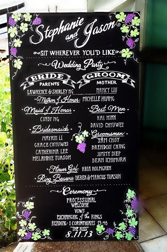 Chalkboard wedding program sign. Why spend money on programs the guests are going to throw away? :)p