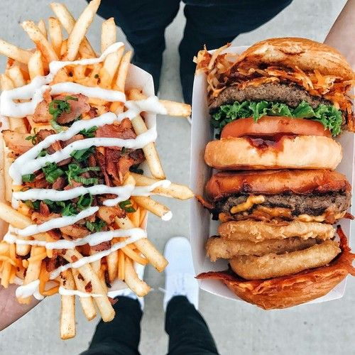 burger, fries, and cheese image