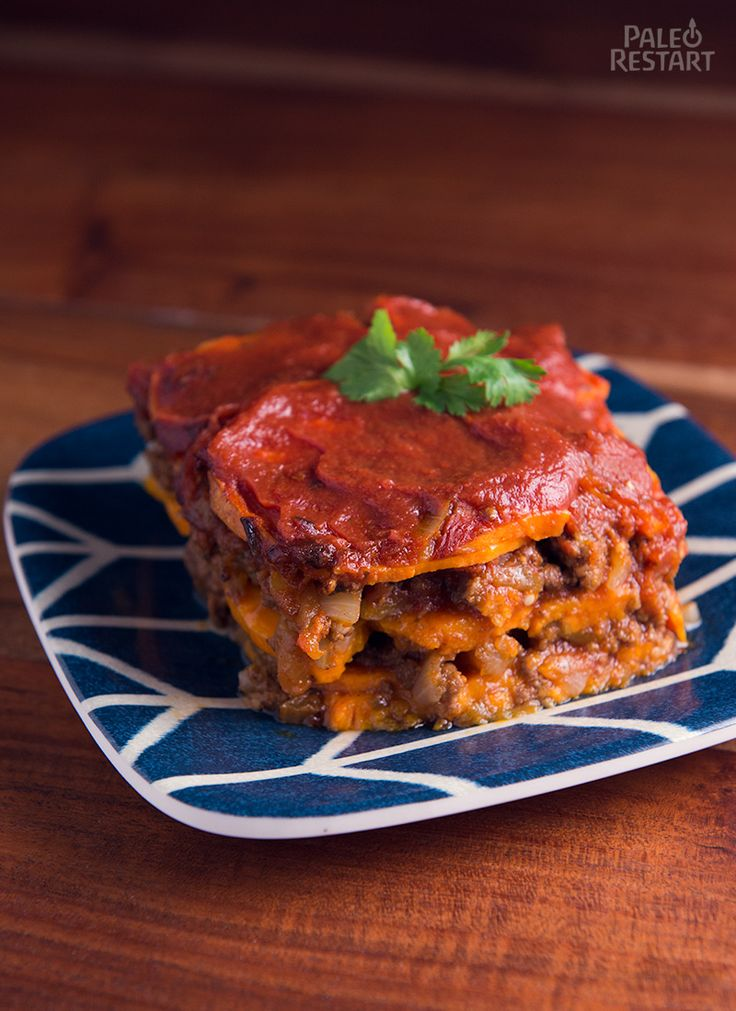 Sweet potato enchilada lasagna from Paleo Restart.