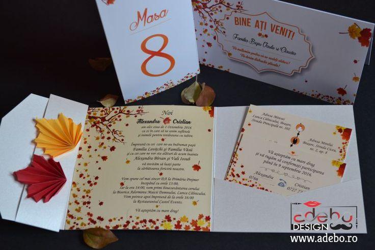 Esti in cautare de Invitatii nunta de toamna, sau invitatii cu tematica toamna ori invitatii nunta sidefate? Frunze, colorit, ploi reci, soare bland, elemente speciale… Adebo Design poate realiza invitatii de nunta tematice, adaptate in totalitate cerintelor clientilor, cat si pachete intregi cu diverse accesorii pentru nunta sau botez, de exemplu in cazul de fata prezentat, a fost realizat un pachet complet pentru o nunta din toamna anului 2016 in Brasov