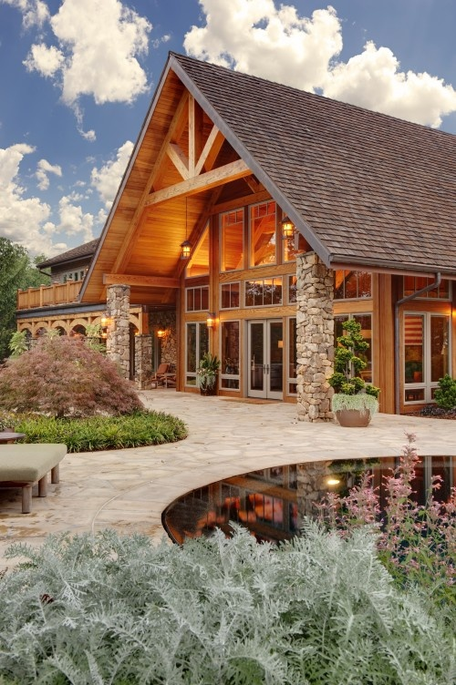 Contemporary mountain home - new entry with lots of windows