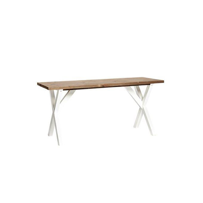 Smalt bord med naturbordplade og hvidmalede ben. Højde: 76 cm. Længde: 156 cm. Dybde: 65 cm. Leveres fragtfrit til dørtrin/fortov.
